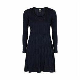 M Missoni Navy Panelled Fine-knit Mini Dress