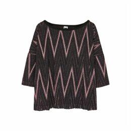M Missoni Zigzag Metallic-knit Top