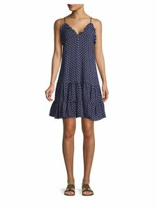 Dot-Print Stretch-Silk Smock Dress