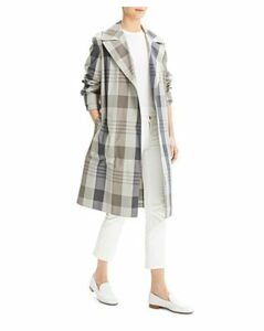 Theory Military-Style Plaid Trench Coat