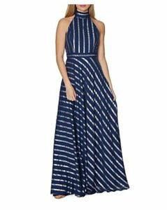 Laundry by Shelli Segal Metallic Stripe Gown