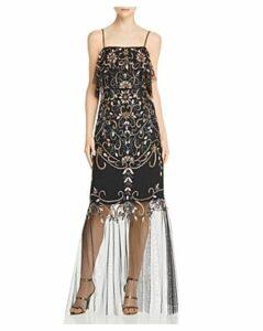 Aidan Mattox Embellished Illusion-Hem Gown