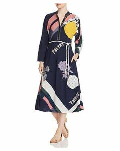 Tory Burch Embellished Scarf-Printed Midi Dress