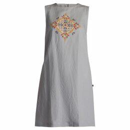GISY - Vietnam Mandala Embroidered Linen Shift Dress Clay