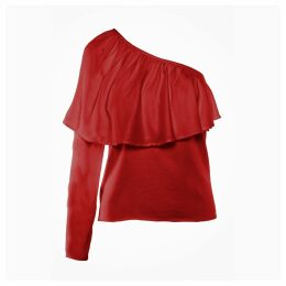 IMAIMA - Ziba One-Shoulder Blouse In Red