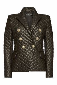 Balmain Leather Blazer with Embossed Buttons