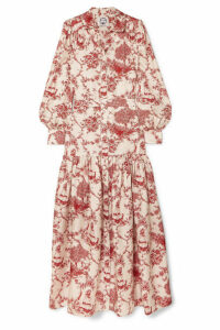 Evi Grintela - Elsa Printed Silk-twill Maxi Dress - Red