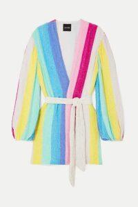 Retrofête - Gabrielle Striped Velvet-trimmed Sequined Chiffon Mini Wrap Dress - Pink