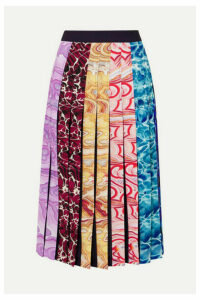 Mary Katrantzou - Pleated Printed Crepe De Chine Midi Skirt - Blue