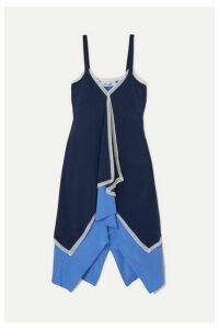 Diane von Furstenberg - Wren Asymmetric Chiffon-trimmed Silk-crepe Midi Dress - Blue