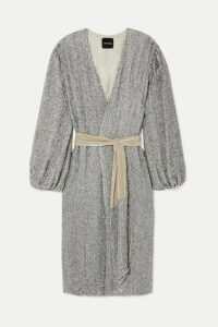 Retrofête - Audrey Velvet-trimmed Sequined Chiffon Wrap Dress - Silver