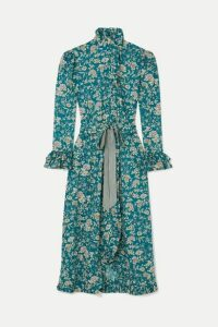 Evi Grintela - Gisele Ruffled Floral-print Cotton Maxi Dress - Blue