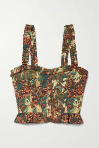Evi Grintela - Gisele Ruffled Floral-print Cotton Maxi Dress - Blue