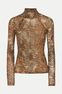 Nanushka - Madi Snake-print Stretch-jersey Turtleneck Top - Brown