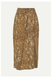 Nanushka - Indira Snake-print Crinkled-voile Midi Skirt - Brown