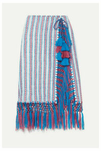 Jaline - Nieves Fringed Tasseled Cotton-gauze Pareo - Azure