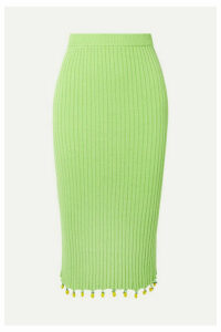 STAUD - Costa Embellished Ribbed Cotton Midi Skirt - Light green