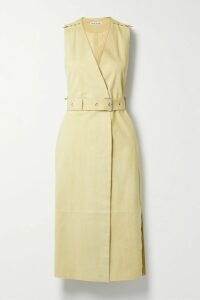 Mes Demoiselles - Brange Belted Printed Silk Crepe De Chine Midi Dress - Brown