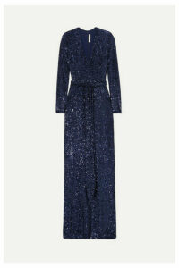 Naeem Khan - Belted Sequined Chiffon Gown - Navy