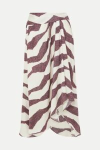 Isabel Marant - Rebeca Asymmetric Printed Satin Midi Skirt - Ecru