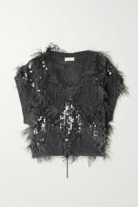 Ulla Johnson - Aisha Embellished Embroidered Linen And Cotton-blend Midi Skirt - Black