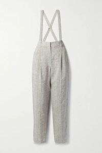 Gabriela Hearst - Gertrude Belted Linen Midi Dress - Light blue