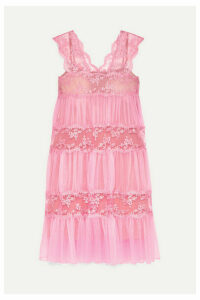 Christopher Kane - Gathered Lace-paneled Tulle Midi Dress - Pink
