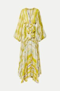 Silvia Tcherassi - Annmarie Belted Tie-dyed Crepe Maxi Dress - Yellow