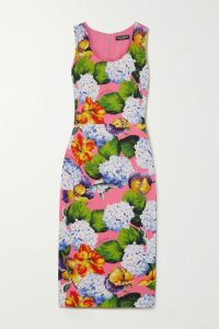 STAUD - Bellini Printed Crepe Dress - Navy