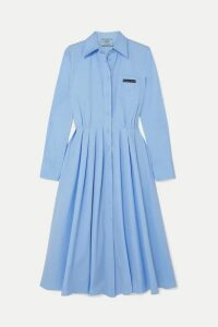 Prada - Pleated Cotton Shirt Dress - Blue