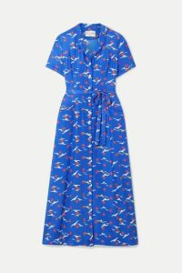 HVN - Long Maria Printed Silk Crepe De Chine Midi Dress - Blue