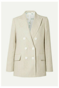 Racil - Casablanca Double-breasted Pinstriped Linen Blazer - Beige