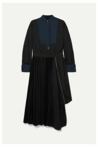 Sacai - Belted Pleated Poplin And Piqué Midi Dress - Black