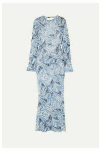 Georgia Alice - Giselle Open-back Printed Cotton And Silk-blend Crepon Maxi Dress - Blue