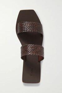 Sacai - Melton Pleated Wool-blend And Satin Midi Skirt - Red