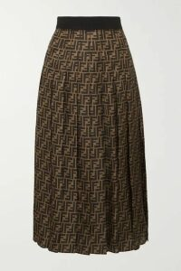 Fendi - Pleated Silk-jacquard Midi Skirt - Brown