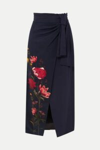 Mother of Pearl - + Net Sustain And Bbc Earth Annabelle Wrap-effect Floral-print Organic Silk Skirt - Navy
