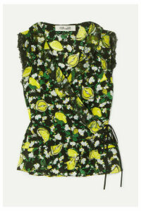 Diane von Furstenberg - Peona Lace-trimmed Printed Silk Crepe De Chine Wrap Blouse - Green