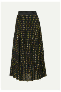 Temperley London - Suki Tiered Satin-trimmed Metallic Fil Coupé Chiffon Skirt - Black