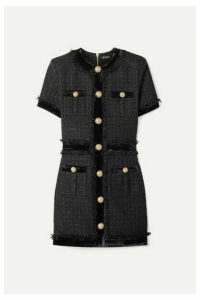 Balmain - Velvet-trimmed Frayed Metallic Tweed Mini Dress - Black
