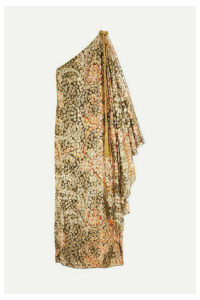 Dundas - One-shoulder Printed Metallic Fil Coupé Silk-blend Maxi Dress - Gold