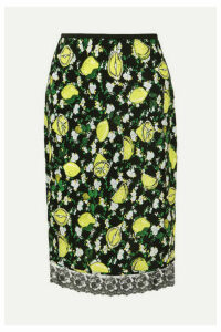 Diane von Furstenberg - Chrissy Lace-trimmed Printed Silk Crepe De Chine Skirt - Green