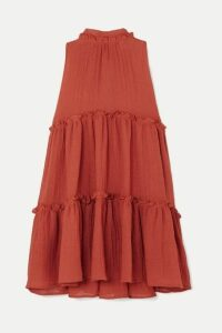 Lisa Marie Fernandez - Erica Ruffled Tiered Linen-blend Mini Dress - Papaya