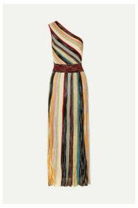 Missoni - One-shoulder Striped Metallic Crochet-knit Maxi Dress - Burgundy