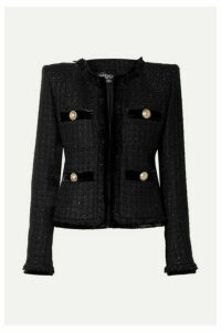 Balmain - Velvet-trimmed Metallic Tweed Blazer - Black