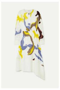 Tibi - Asymmetric Paneled Printed Crepe Midi Dress - White