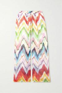 Miu Miu - Striped Open-knit Mohair-blend Sweater - Fuchsia