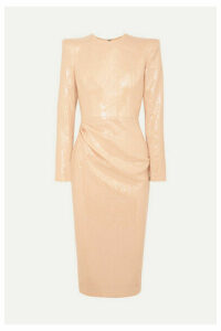 Alex Perry - Corbet Gathered Sequined Crepe Midi Dress - Beige
