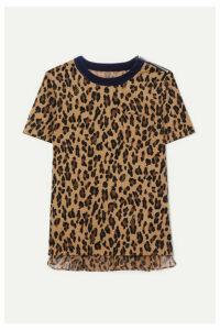 Sacai - Leopard-print Cotton-corduroy And Crepe T-shirt - Beige