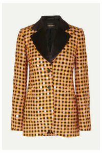 Stine Goya - + Net Sustain Florence Sequin-embellished Gingham Organic Hemp And Silk-blend Blazer - Orange
